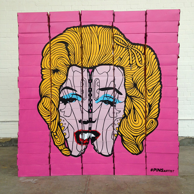 'Lacy Marilyn' sculpture by Urban Artist PINS
