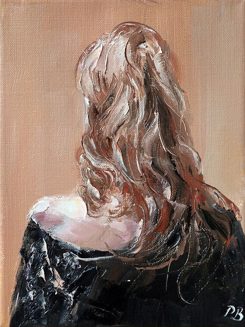 White City Gallery presents 'Blonde in Black Study' by David Porteous-Butler. Oil painting female form long blonde hair dress