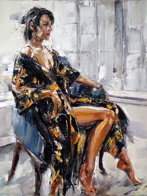 David Porteous-Butler 'Sian, Hampstead' 40x50cm White City Gallery London Oil on canvas Palette knife artwork Figurative lady