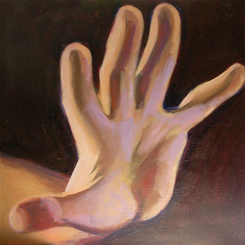 Small painting of an outstretched hand painted in brightly illuminated flesh tones - by Deirdre Hyde