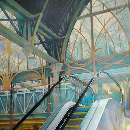 Stairway to Heaven, Escalator Windows, Paddington Station London, original painting by Deirdre Hyde, White City Gallery