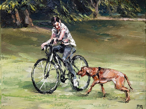 David Porteous-Butler 'Girl with Dog' 30x24cm White City Gallery London Oil on canvas Palette knife artwork bicycle ride walk