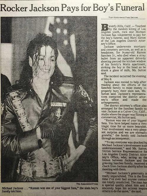 1992 'Rocker Jackson Pays For Boy's Funeral' MICHAEL JACKSON USA News