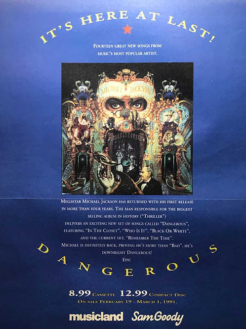 Advertisement for Michael Jackson's 'Dangerous' album from an American magazine