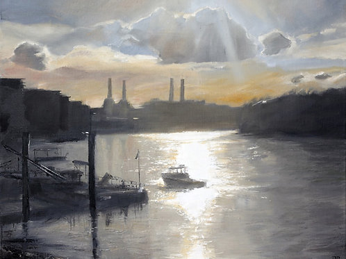 A painted view of Battersea Power Station from Vauxhall Bridge by artist David Porteous-Butler. River Thames, London