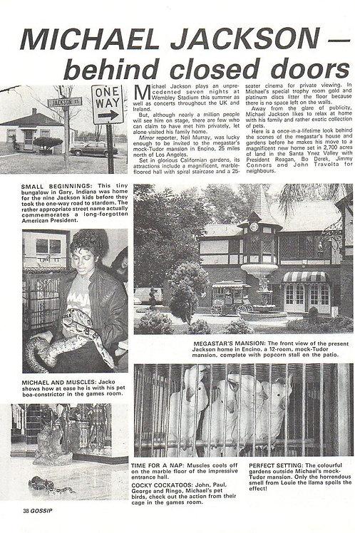 1988 UK GOSSIP Magazine Article MICHAEL JACKSON 'Behind Closed Doors'