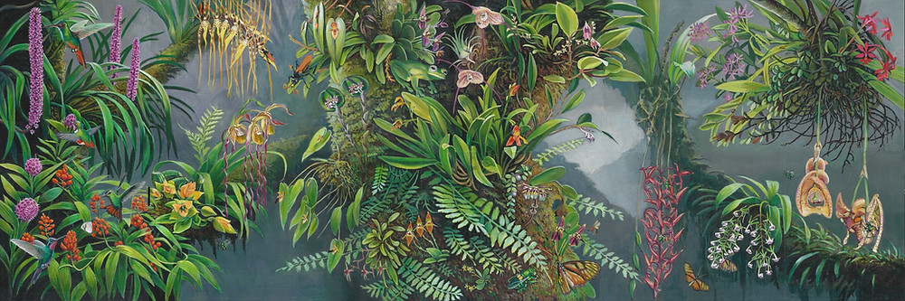 Painting of a Costa Rican forest teeming with wildlife and various orchid species
