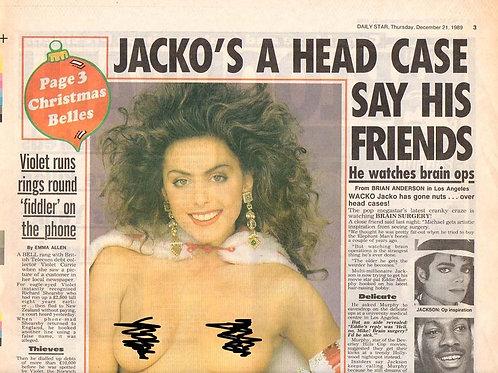 1989 Dec 'Jacko's A Head Case' DAILY STAR News Article MICHAEL JACKSON