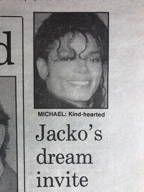 1990 'Jacko's Dream Invite' Michael Jackson Daily Express Article