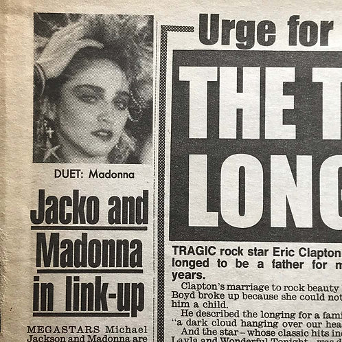 1991 March 21 DAILY MIRROR News Article feat. MICHAEL JACKSON MADONNA