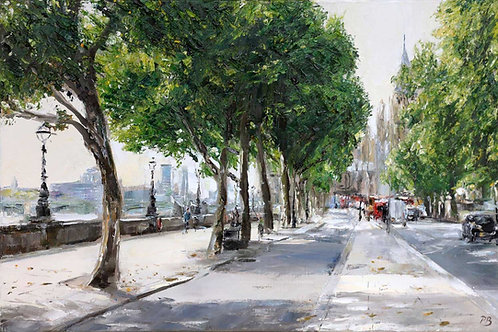 White City Gallery presents 'Victoria Embankment, London' by David Porteous-Butler. Original oil painting street scene river