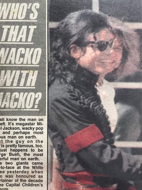 1990 Who's That Wacko With Jacko? Daily Mirror Newspaper Article