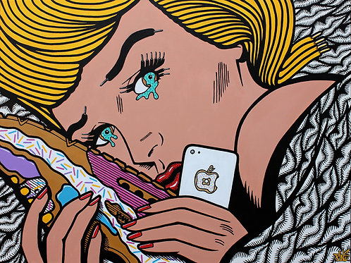When it's all too much, take solace in donuts and sneakers! Original painting by artist PINS at White City Gallery London