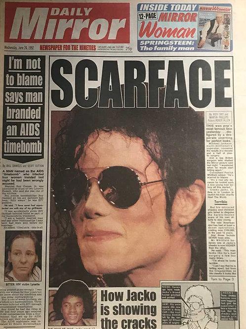 1992 Scarface DAILY MIRROR Newspaper MICHAEL JACKSON