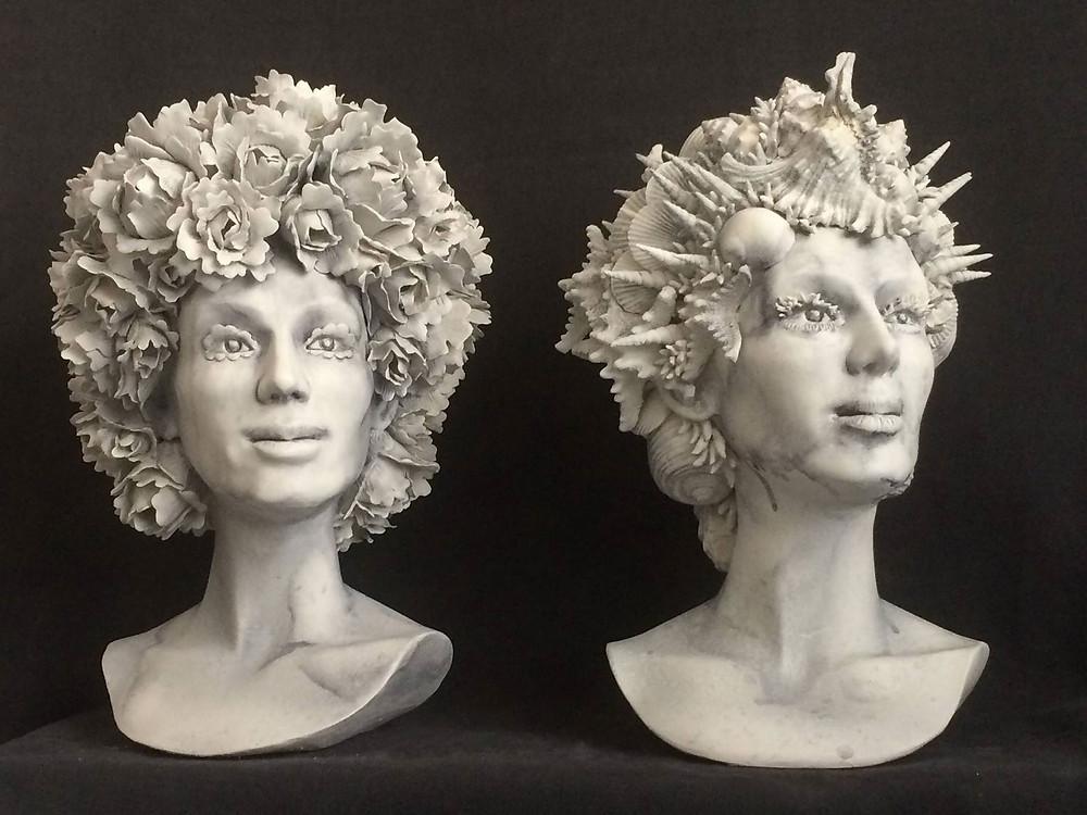'Fiori' e 'Conchiglie' porcelain head sculptures by Maurizio Lo Castro