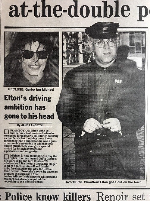 1990 'Greta Garbo' Michael Jackson Elton John Daily Express Article