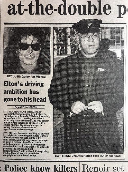 1990 'Greta Garbo' Michael Jackson Elton John Daily Express Article