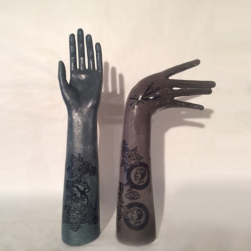 Maurizio Lo Castro 'Tattoo Hands' at White City Gallery London. Porcelain hand sculpture 2nd Skin BDSM