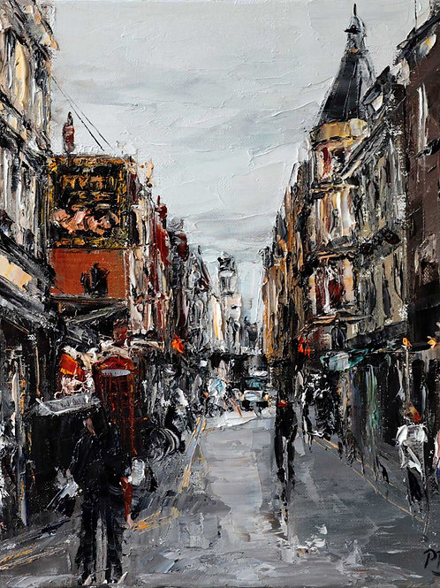 White City Gallery presents 'Rupert Street, London' by David Porteous-Butler. Original oil painting street scene capital city