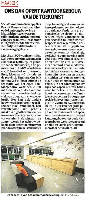 Ons Dak Kantoorgebou - Krantenartike