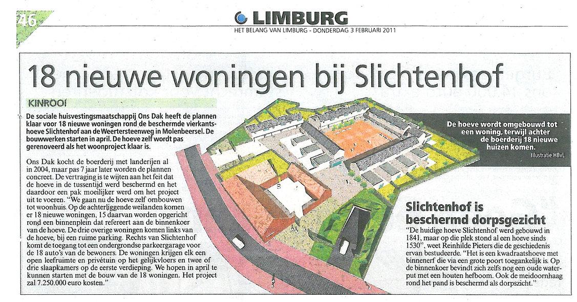 Ons Dak Slichtenhof - Krantenartikel
