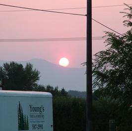 Trailer at sunset