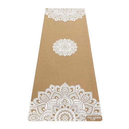 Tapis yoga Mandala white en liège éco-responsable Yoga Lab Design