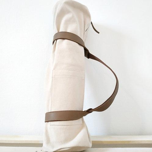 Sac de Tapis de Yoga en Lin Blanc Cassé