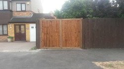 Timber double driveway gates