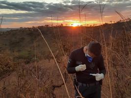 No ermo do cerrado brasileiro, o pôr-do-sol auxilia na iluminação do trabalho pericial