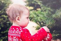 Niño en el árbol de navidad Granja