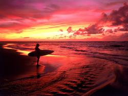 Surfer at Twilight, Hawaii
