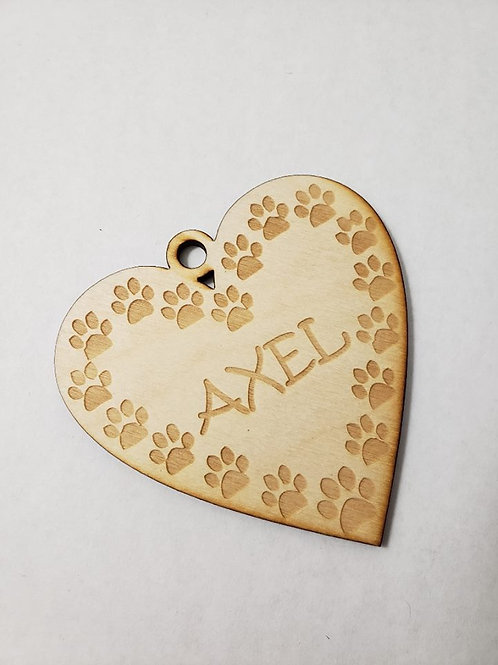 Personalized Heart with Paw Prints