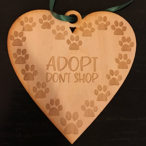 Heart with Paw Prints Adopt Don't Shop