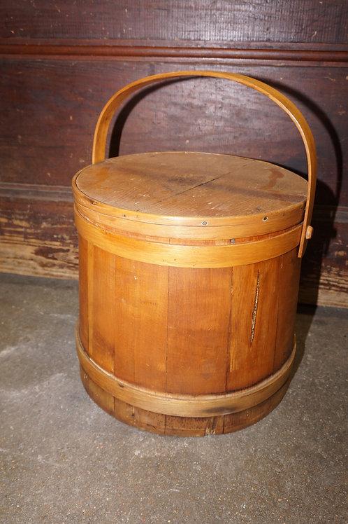 Primitive Wooden Sugar Bucket With Lid mid 1800s
