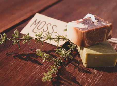 NO to plastic shampoo bottles with MOSS organic soap and shampoo bars