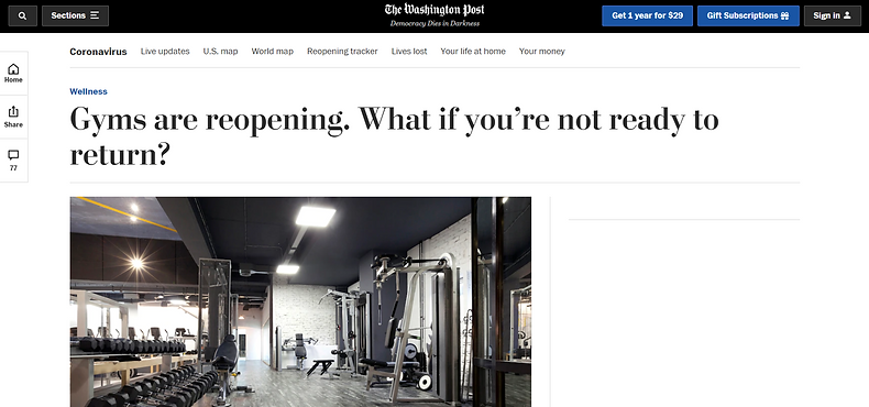 Washington Post Gym Release Article 5-25