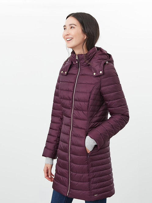 Joules Canterbury Long Coat - plum