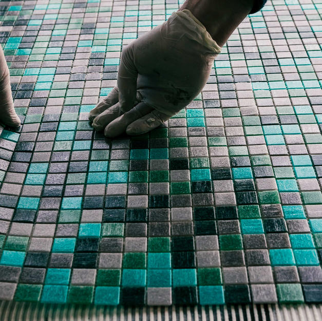 Laying the new tiles