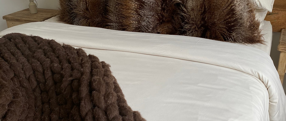 Faux Fur Taupe - Duck Feather Filled Cushion