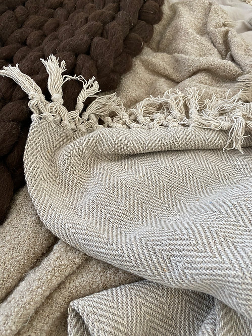 Herringbone Throw - Natural