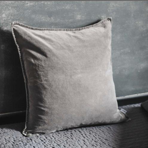 Grey Stonewashed Velvet Cushion