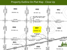 Property Outline On Plat Map - Close Up.