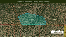 Property Outline on County Map Close Up.