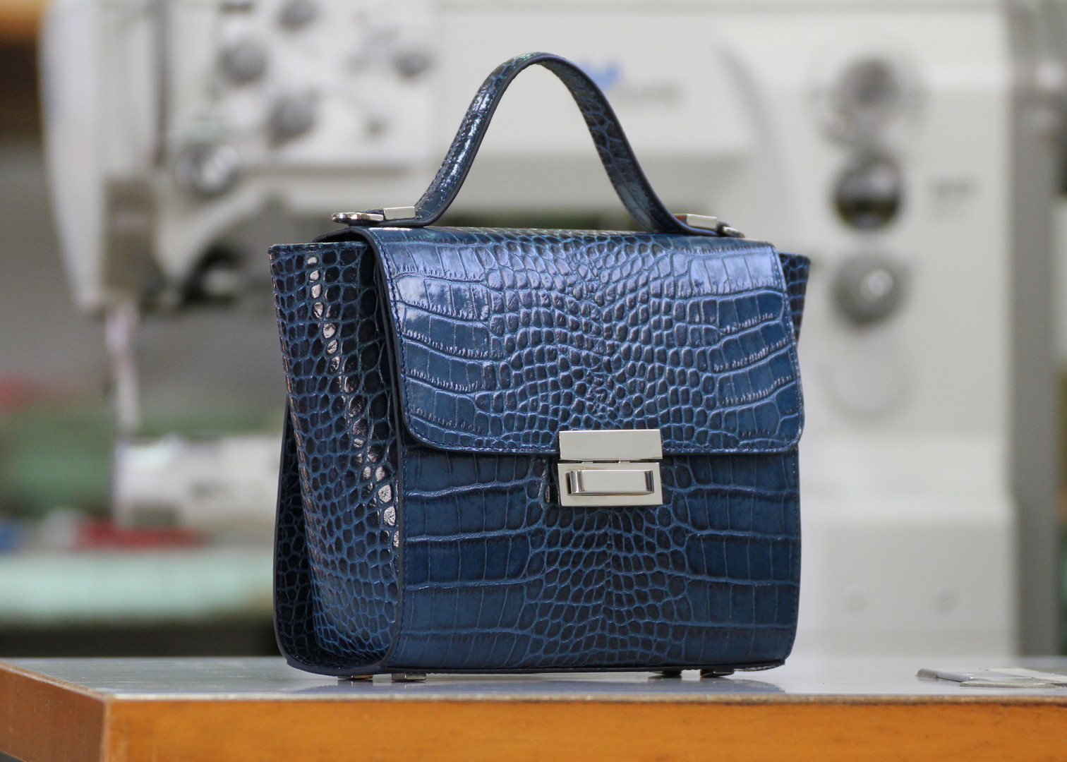 Mia in Prussian blue Croco