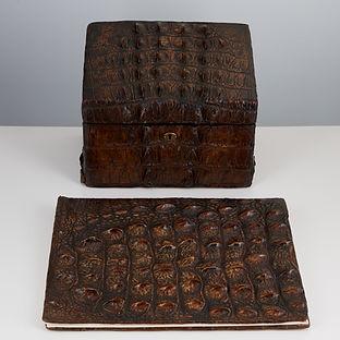 Rare Early 20th Century Crocodile Desk Set circa 1910