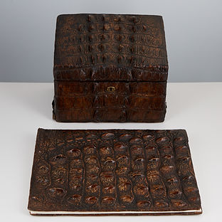 Rare Early 20th Century Crocodile Desk Set circa 1910