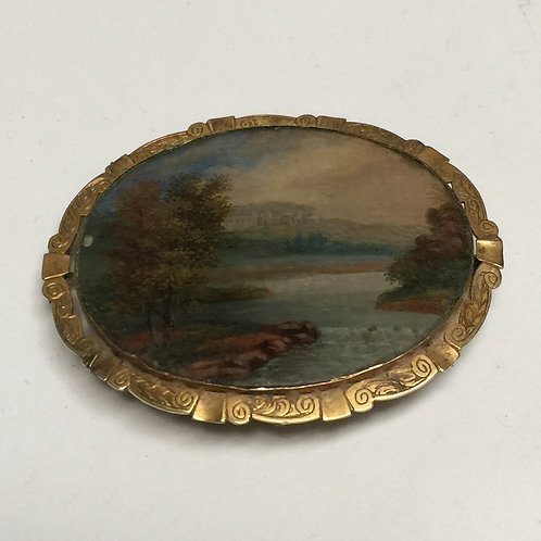 C19th Hand Painted/Momento Brooch In Gold Setting