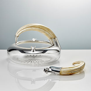 An Antique 20th Century Large Cut Glass and Silver Mounted Cigar Ashtray with a Boar's Tooth Handle