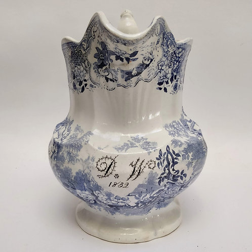 Large Blue And White Jug Commemorating- D.W. 1832